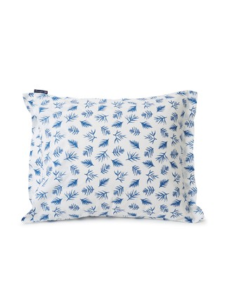 Blue Printed Leaves Organic Cotton Poplin Pillowcase