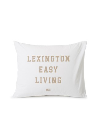 Printed Organic Cotton Poplin Pillowcase, White/Beige
