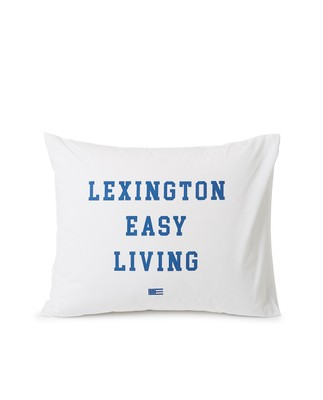 Printed Organic Cotton Poplin Pillowcase, White/Blue