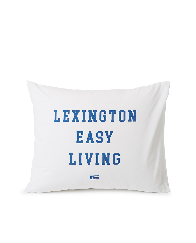 Printed Organic Cotton Poplin Pillowcase, White/Blue