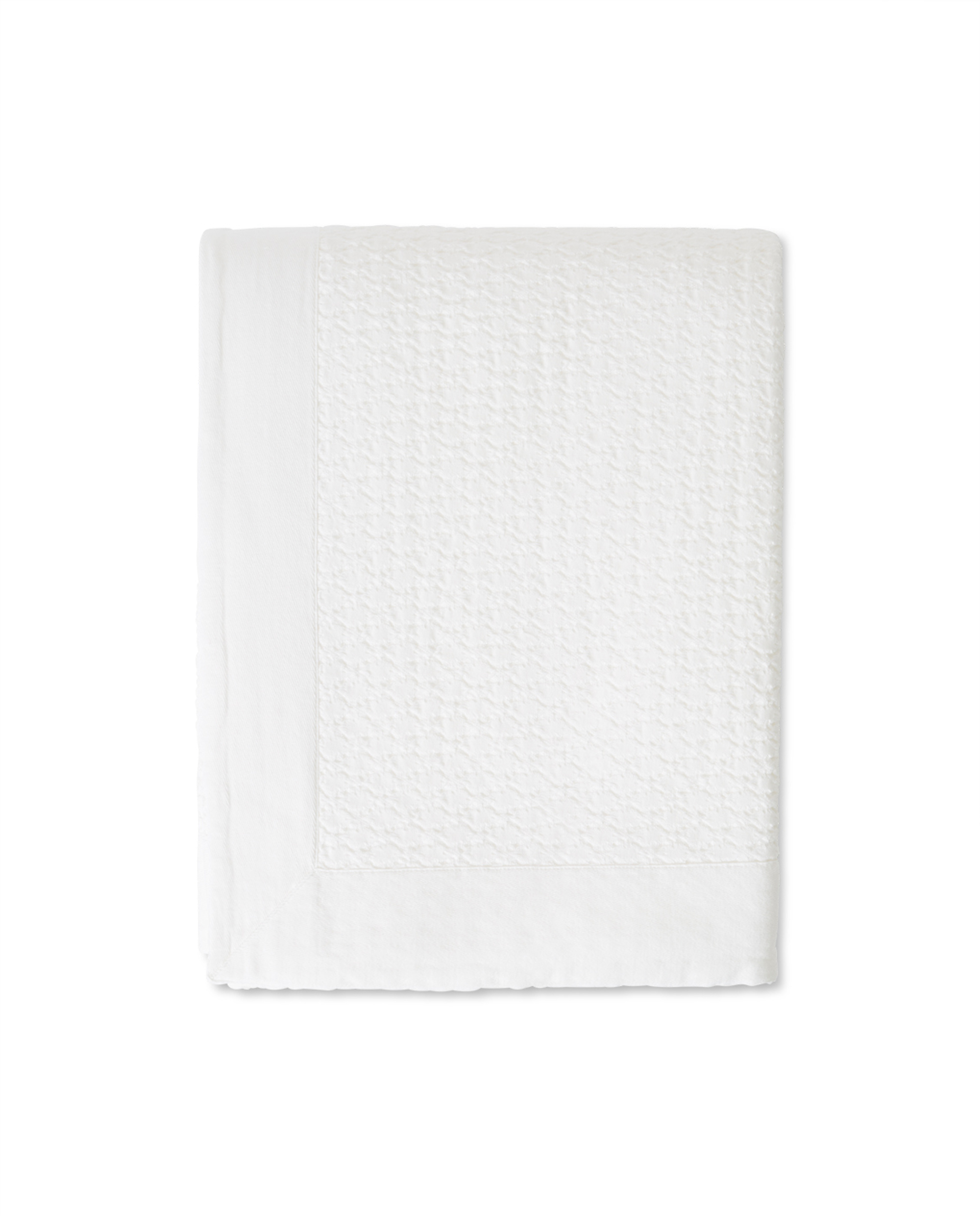 Waffle Structure Organic Cotton Bedspread, White