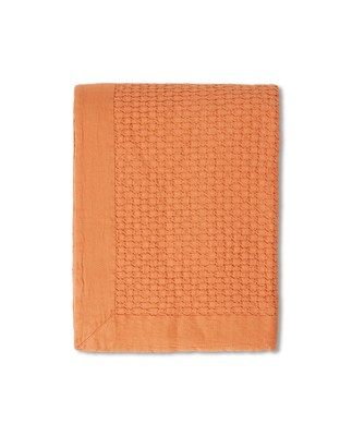Waffle Structure Organic Cotton Bedspread, Peach Melon