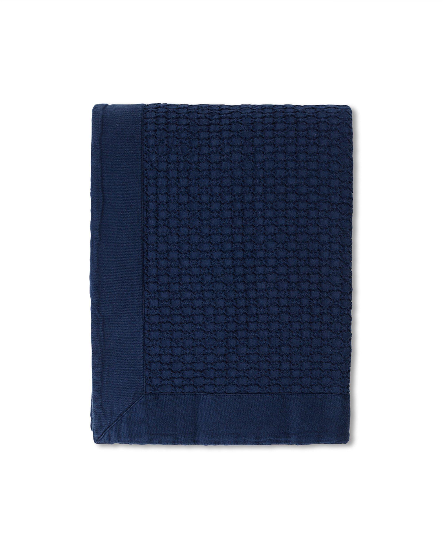 Waffle Structure Organic Cotton Bedspread, Dark Blue