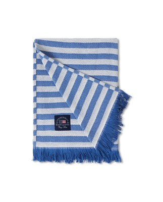 Striped Recycled Cotton Throw, Blue/White