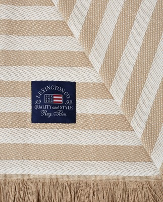 Striped Recycled Cotton Throw, Beige/White