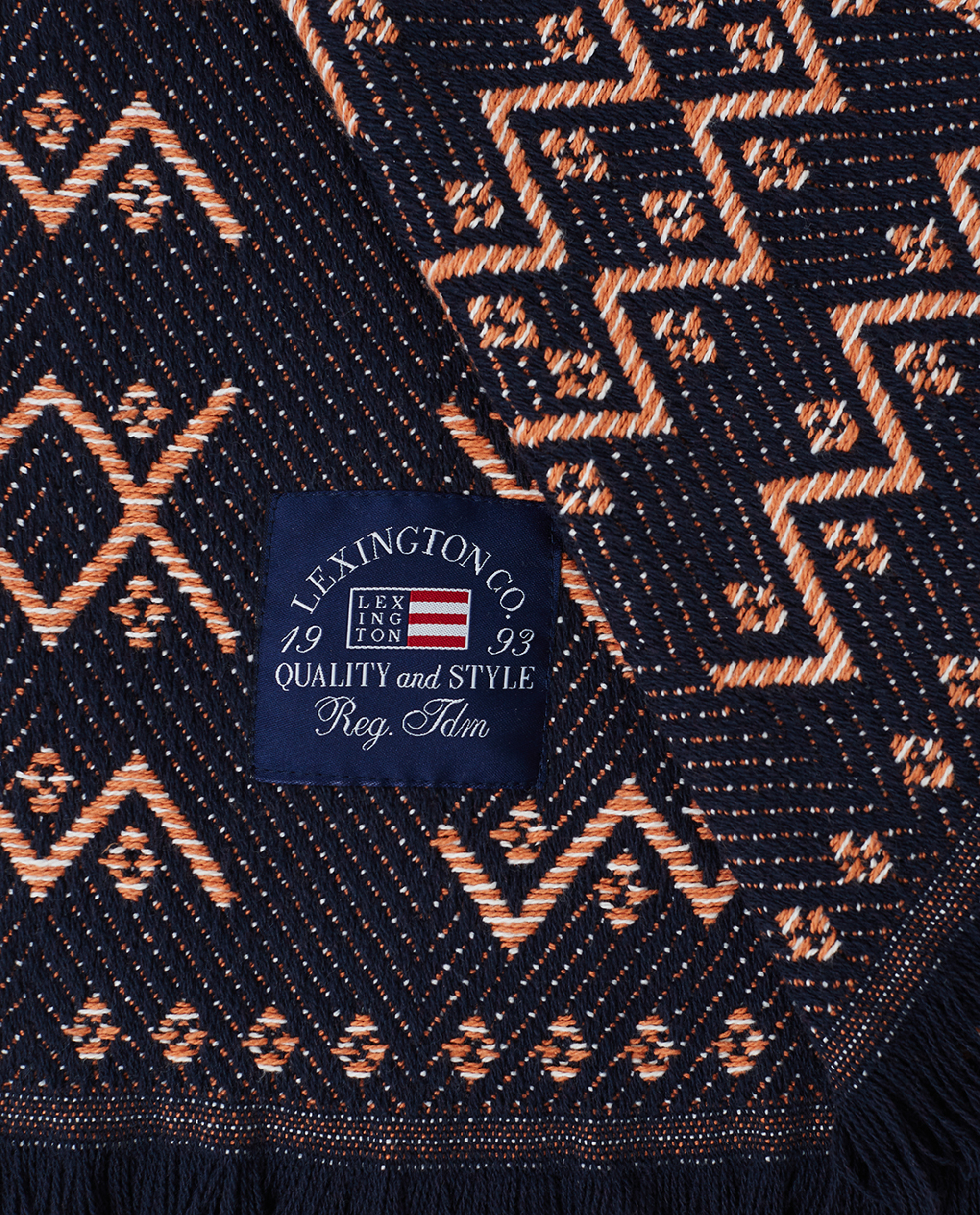 Graphic Recycled Cotton Throw, Peach Melon/Dark Blue
