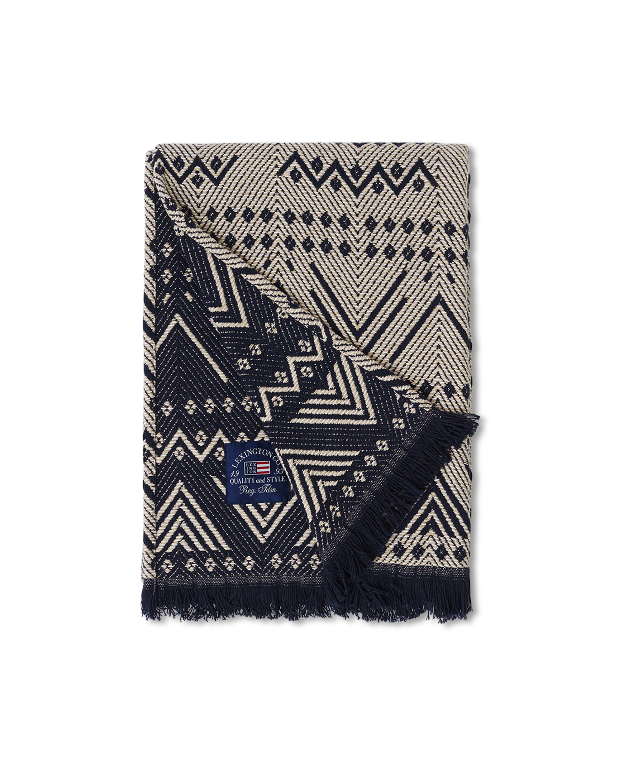 Graphic Recycled Cotton Throw, Beige/Dark Blue