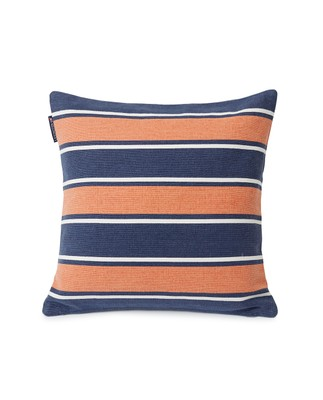 Printed Stripes Recycled Cotton Canvas Pillow Cover, Peach Melon/Dark Blue