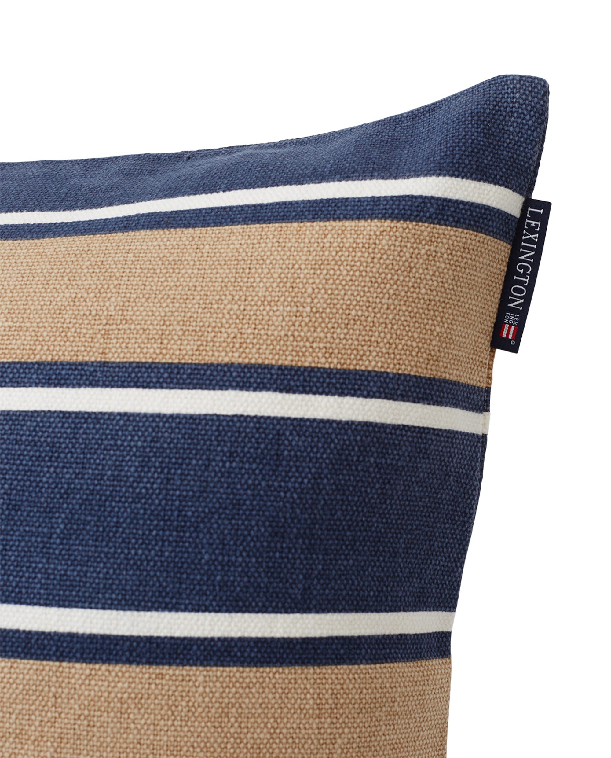 Printed Stripes Recycled Cotton Canvas Pillow Cover, Beige/Dark Blue