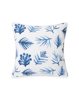 Blue Printed Leaves Cotton Twill Pillow Cover