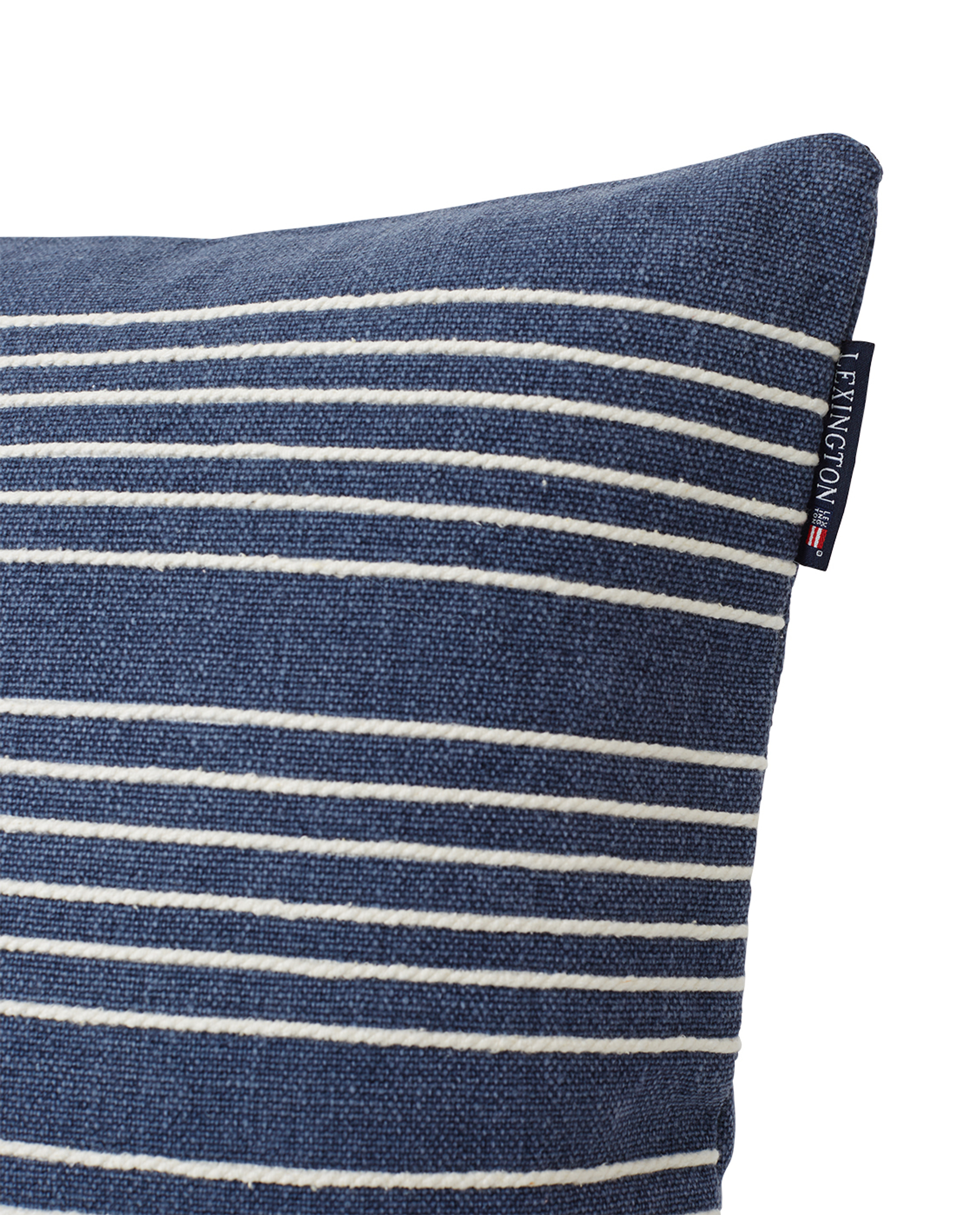 Structure Stripes Recycled Cotton Canvas Pillow Cover, Dark Blue/White