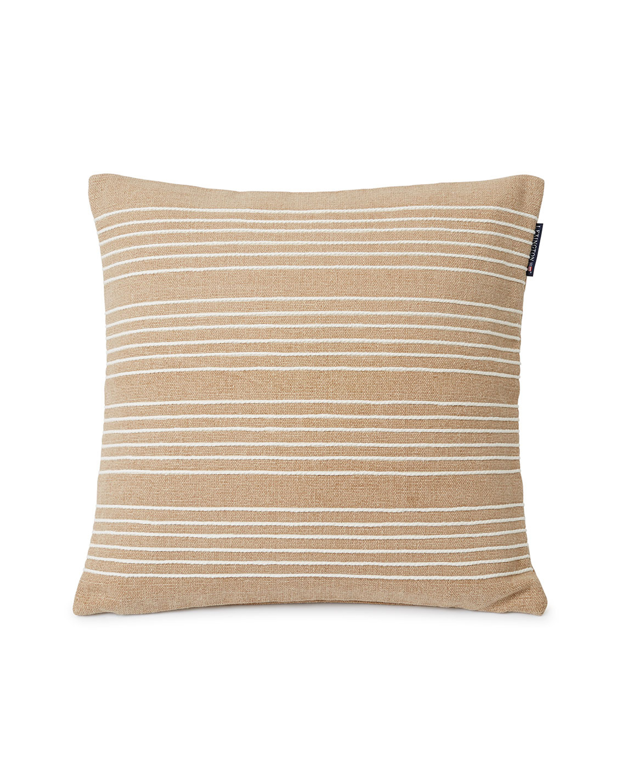 Structure Stripes Recycl Cott Canvas Pillow Cover, Beige/White