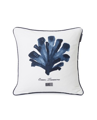 Ocean Treasures Cotton Twill Pillow Cover, White/Blue