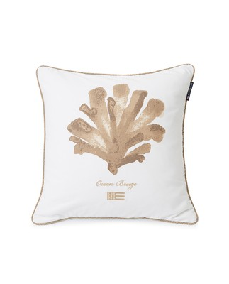 Ocean Treasures Cotton Twill Pillow Cover, White/Beige