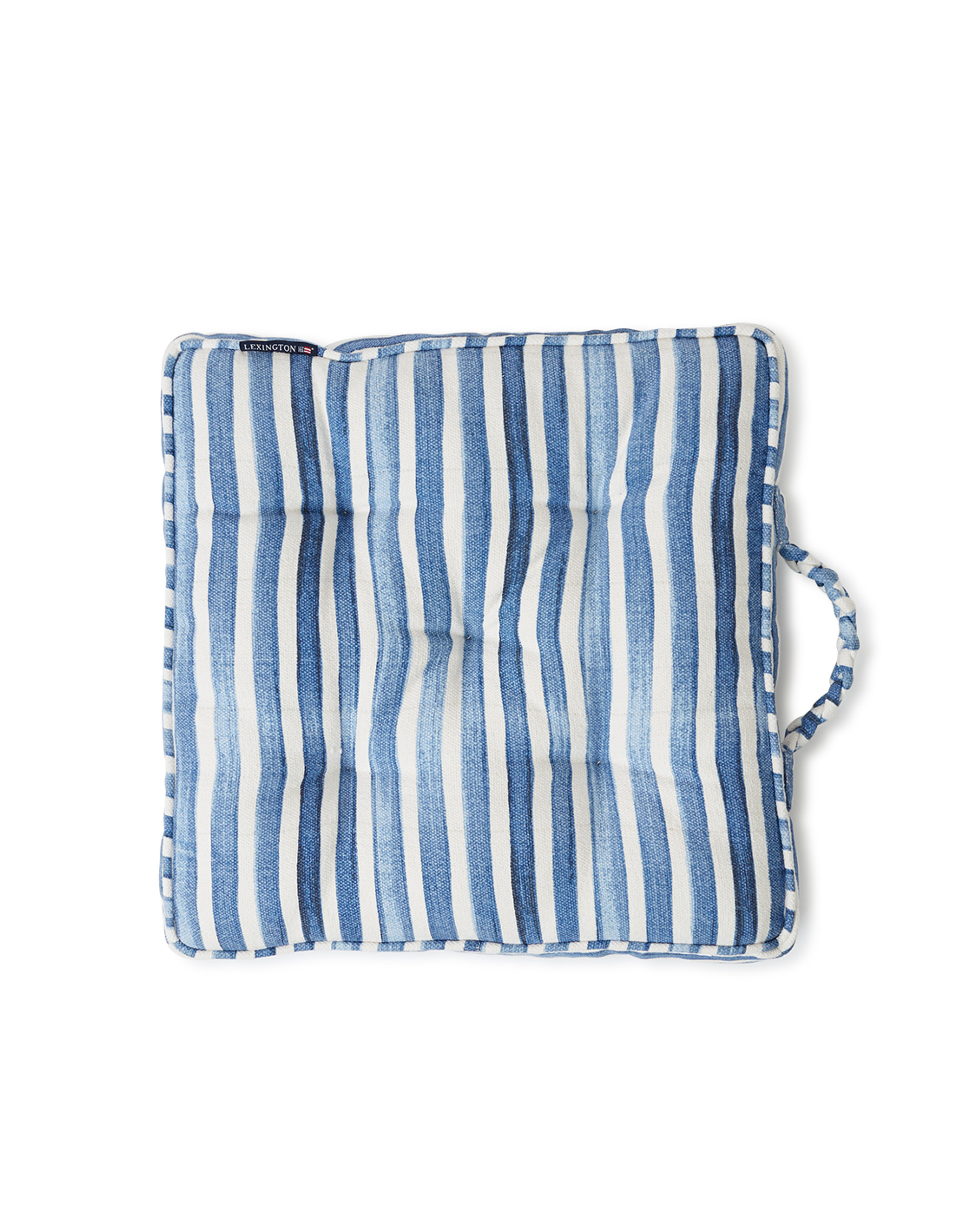 Blue Striped Cotton Canvas Outdoor/Indoor Cushion