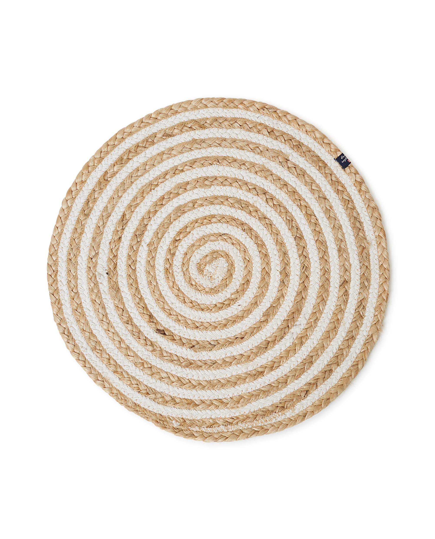 Round Cotton/Jute Placemat Beige/White