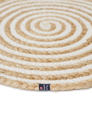 Round Cotton/Jute Placemat Beige/White