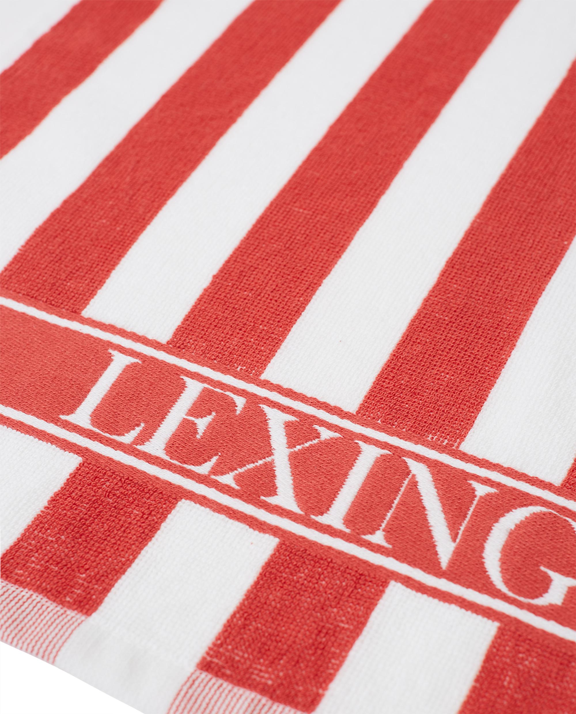 Striped Logo Organic Cotton Terry Kitchen Towel, Red/White