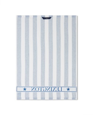 Striped Logo Organic Cotton Terry Kitchen Towel, Blue/White