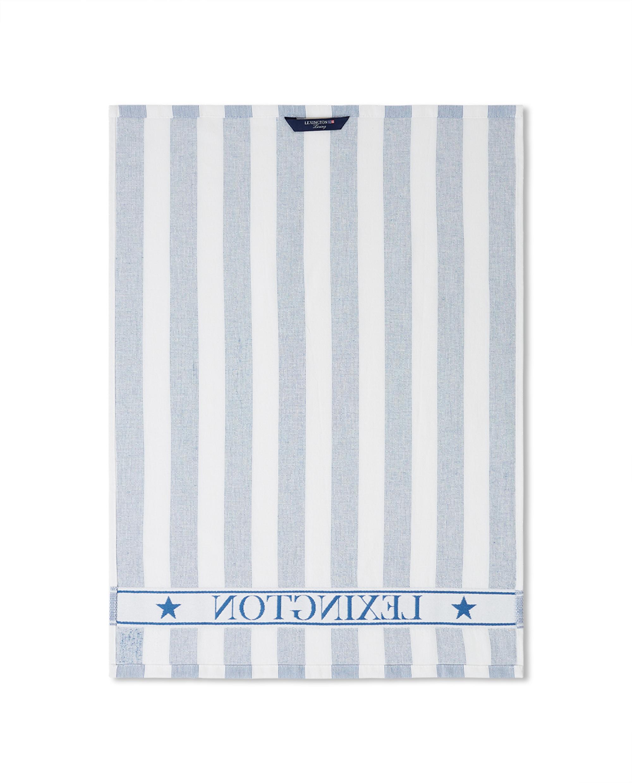 Striped Logo Organic Cotton Terry Kitchen Towel, Blue/White