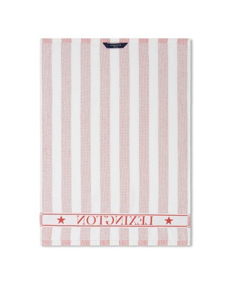 Striped Logo Organic Cotton Terry Kitchen Towel, Red/White