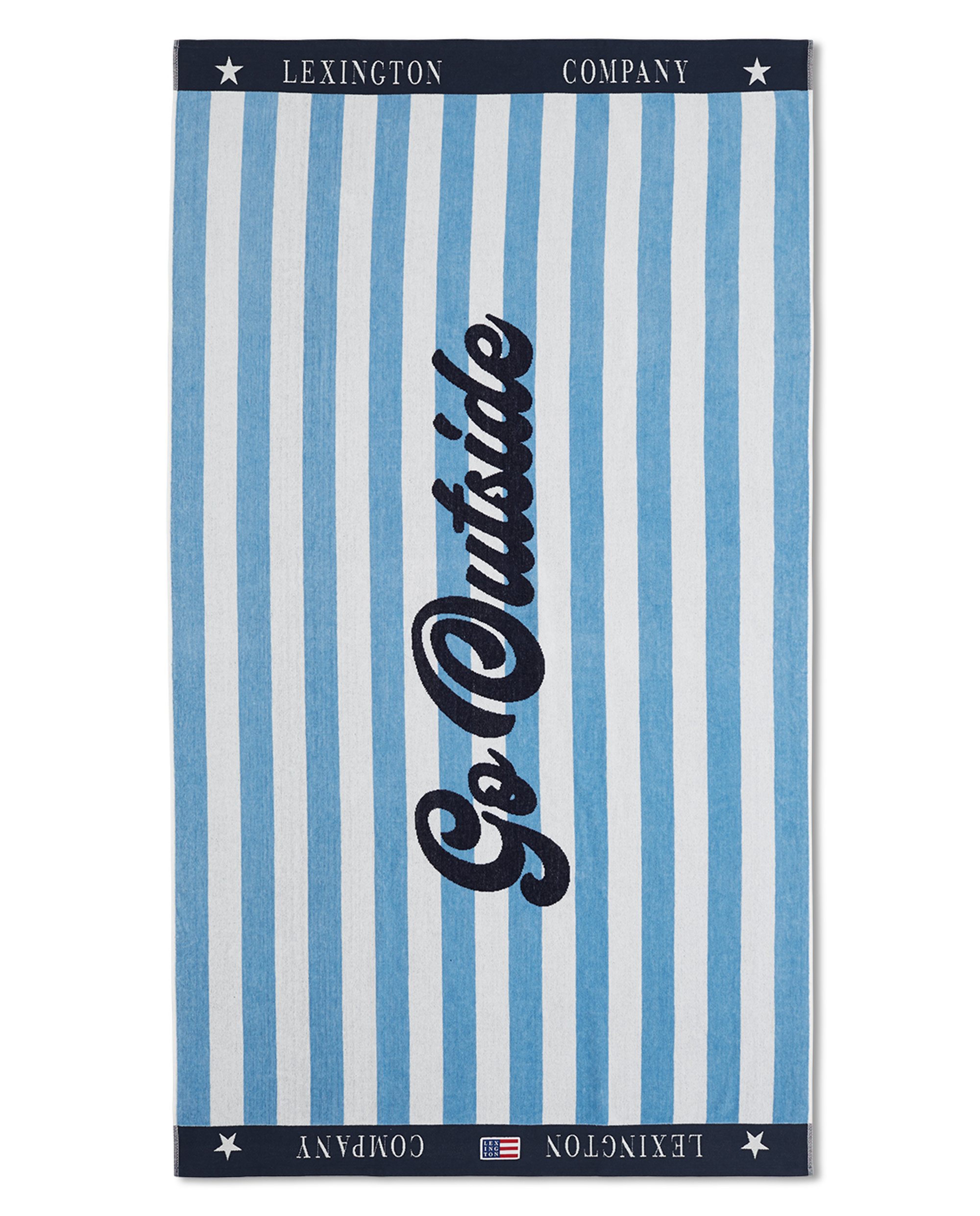Graphic Cotton Velour Beach Towel, Blue/White