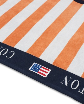 Graphic Cotton Velour Beach Towel Peach Melon/White