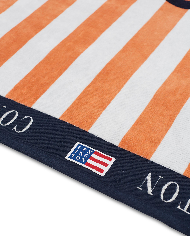 Graphic Cotton Velour Beach Towel Peach Melon/White