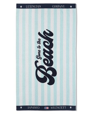 Graphic Cotton Velour Beach Towel Turguoise/White