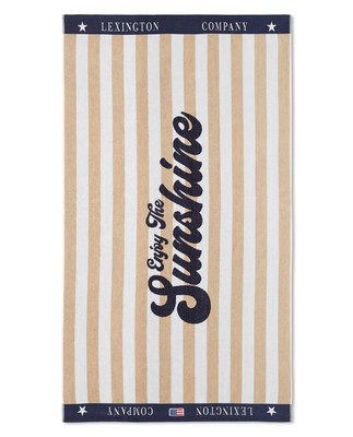Graphic Cotton Velour Beach Towel, Beige/White