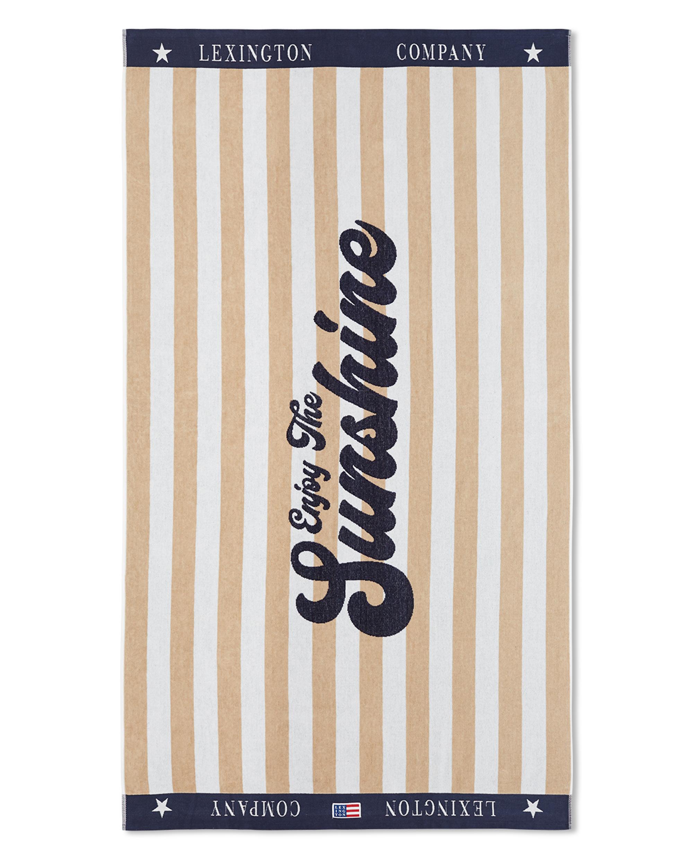 Graphic Cotton Velour Beach Towel, Beige/White