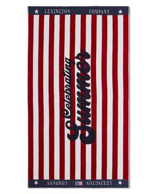 Graphic Cotton Velour Beach Towel Red/White