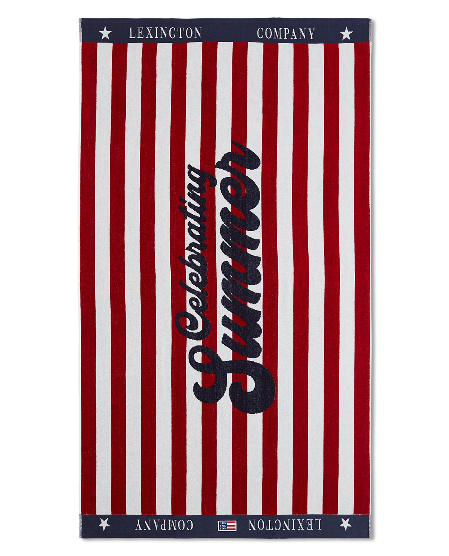 Graphic Cotton Velour Beach Towel Red/White