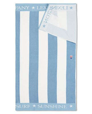 Striped Organic Cotton Terry Family Beach Towel, Blue/White