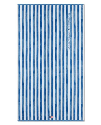 Blue Striped Logo Cotton Velour Beach Towel