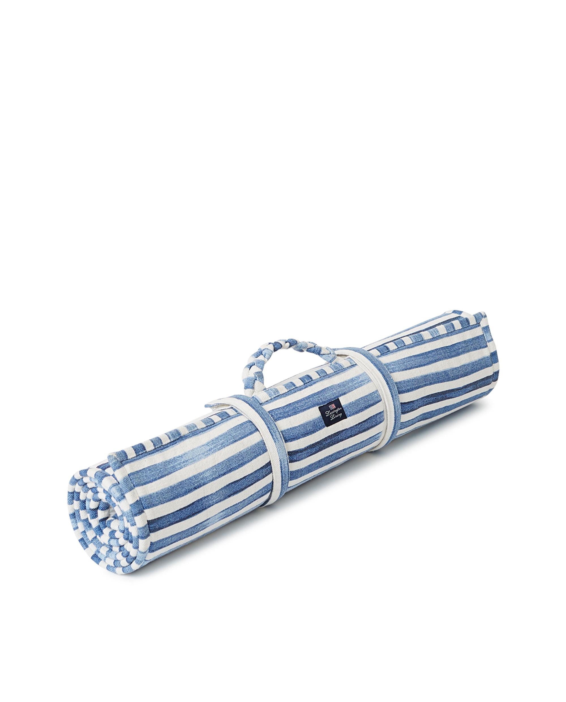 Blue Striped Cotton Canvas Beach Mat