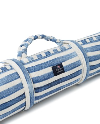 Blue Striped Cotton Canvas Beach Mat