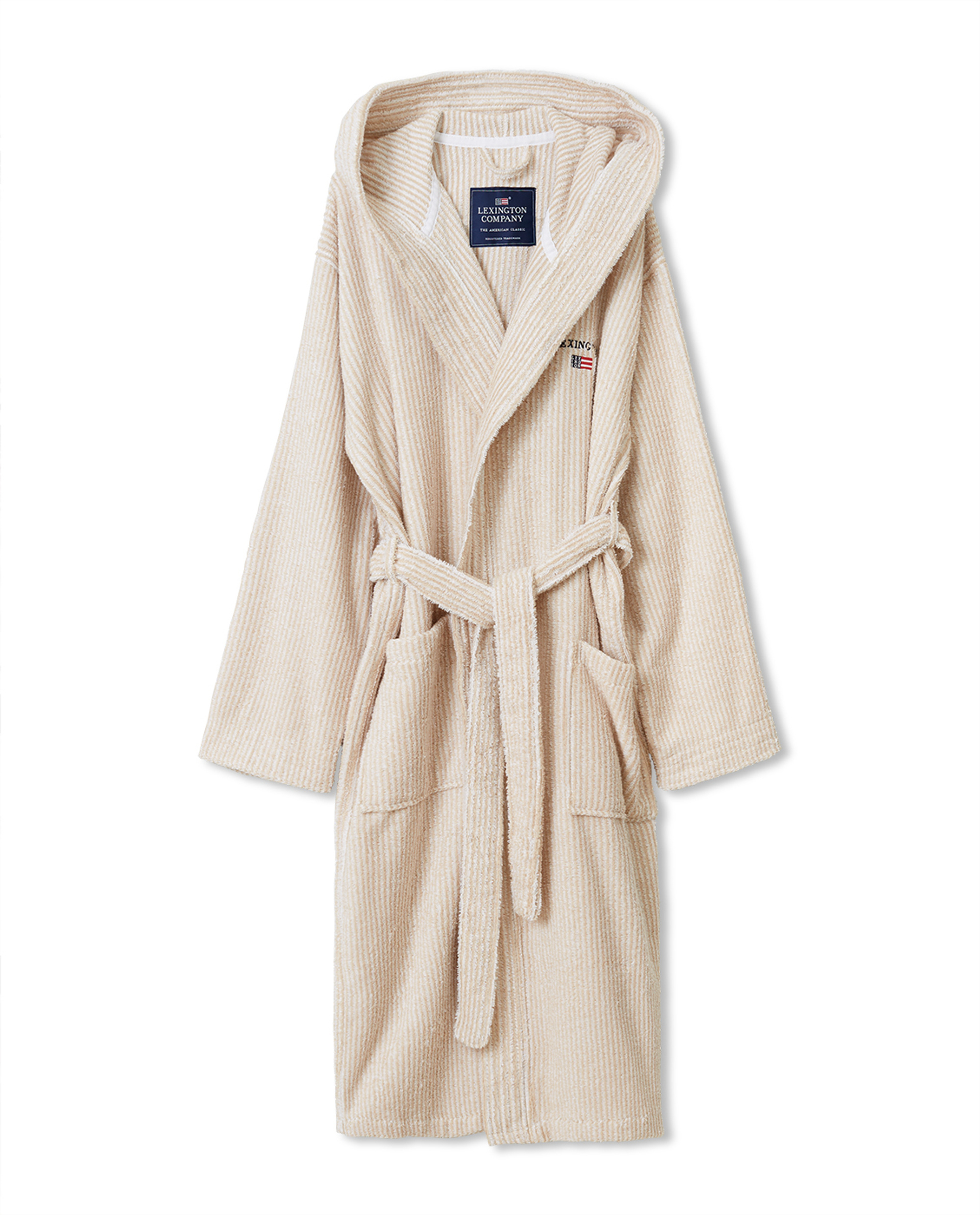 Striped Organic Cotton-Mix Hoodie Robe, White/Tan