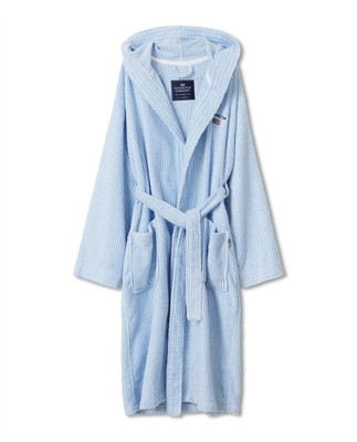Striped Organic Cotton-Mix Hoodie Robe, Blue/White