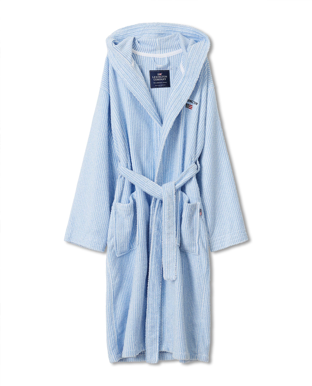 Striped Organic Cotton-Mix Hoodie Robe, Blue/White