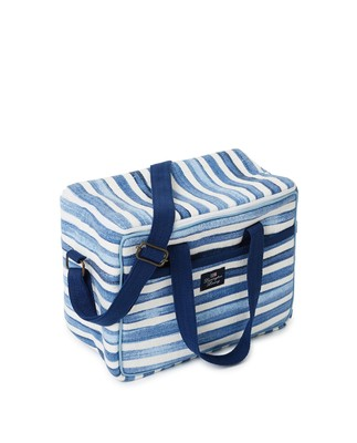 Blue Striped Cotton Canvas Cooler Bag