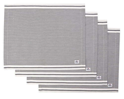 Oxford Dark Gray/White Striped Placemat