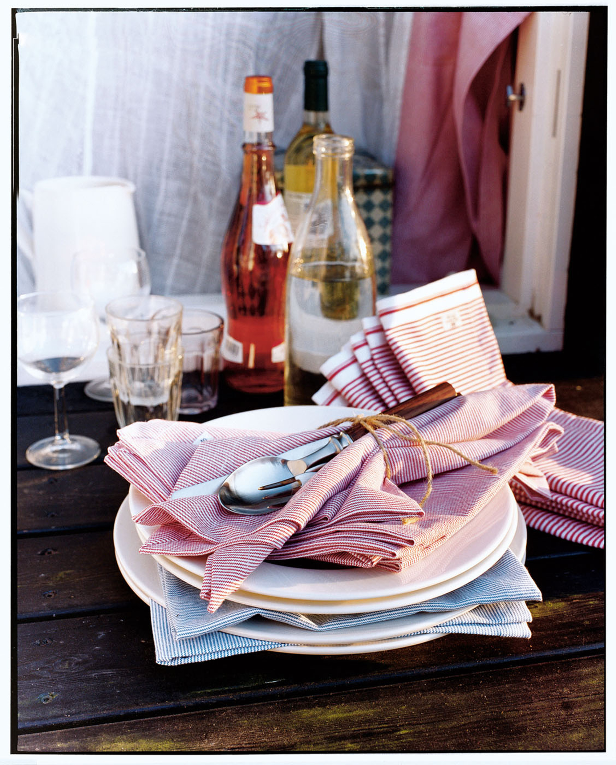 Oxford Red/White Striped Napkin