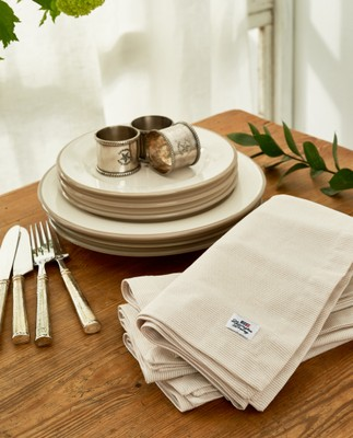 Icons Oxford Beige/White Striped Napkin