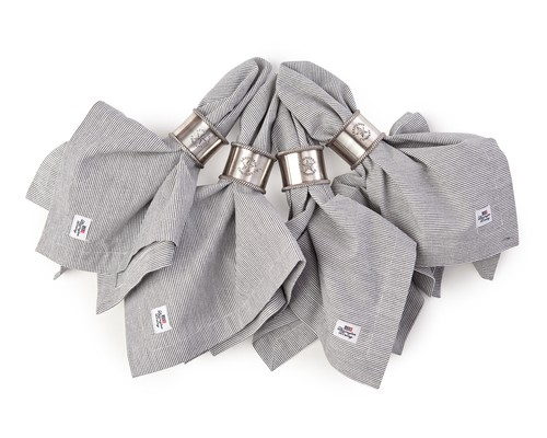 Oxford Dark Gray/White Striped Napkin