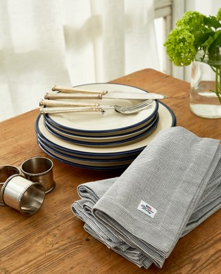 Icons Oxford Dark Gray/White Striped Napkin