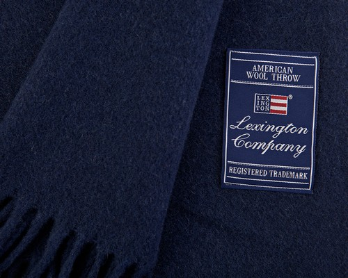 Icons Solid Wool Throw Navy