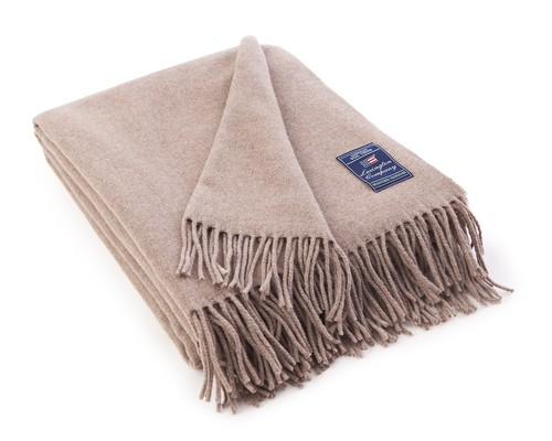 Icons Solid Wool Throw Beige