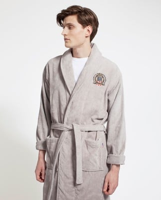 Icons Unisex Velour Robe, Gray