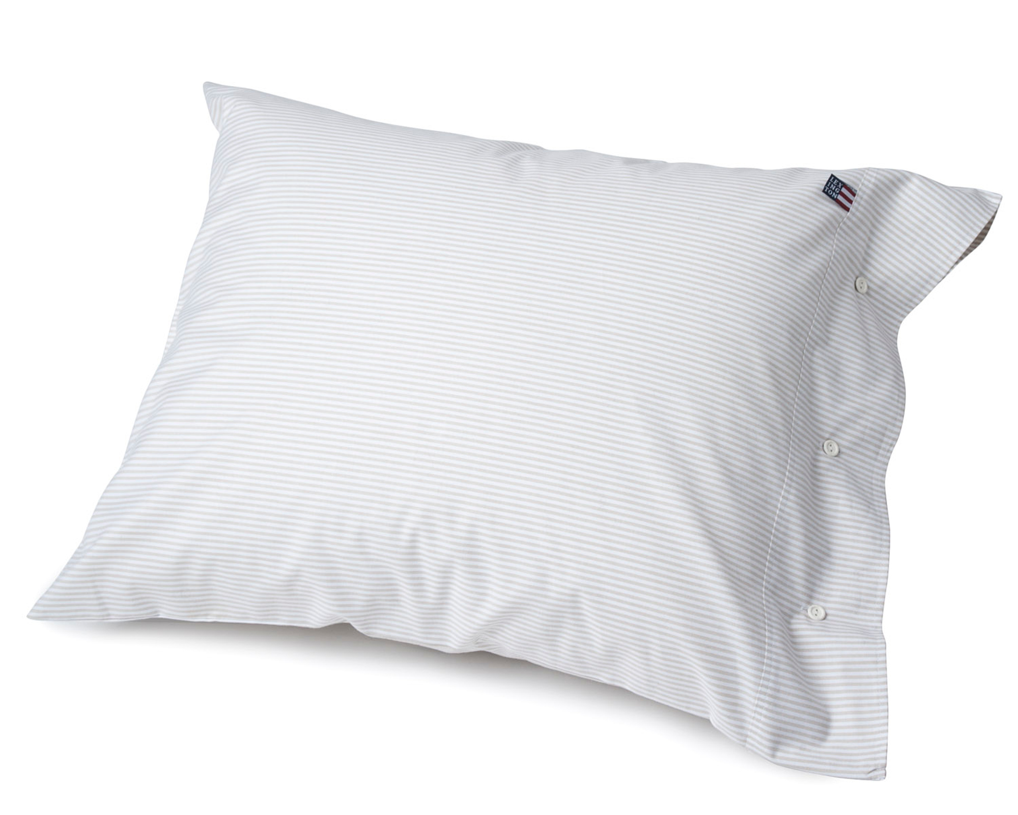 Pin Point Pillowcase, Beige/White